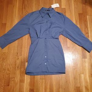 Zara button up shirt dress collar blue sz Medium